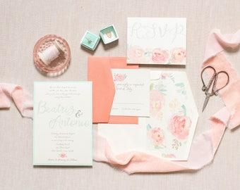 5x7 Water Color Floral Flowers Invitation in Mint and Coral with RSVP & Envelope Liner. Different Colors Available.