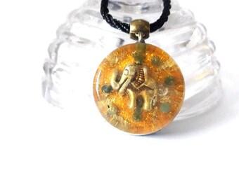 Aventurine Orgone Pendant Elephant Pendant Orgone Elephant Orange Aventurine Crystal Healing Protection Spiritual Balance and Meditation