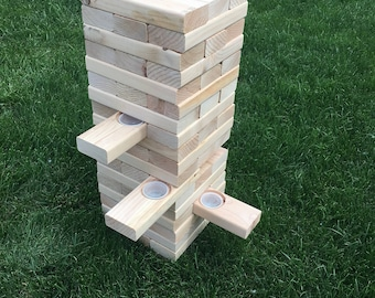 Jello Shot Jenga Party Game Yard Gift Bachelor Party Cookout Fun Giant Jenga drinking game Jell-O shot Tailgate Tail gate QUICK SHIP