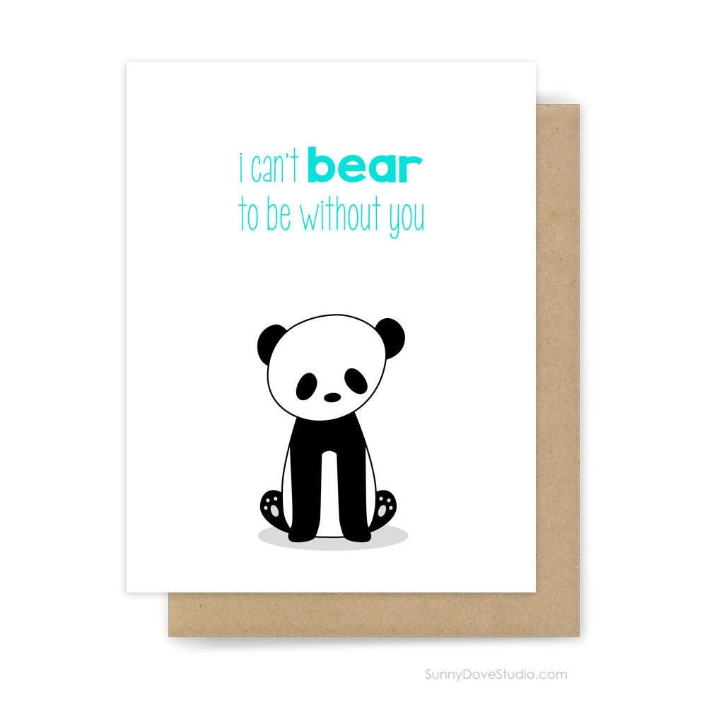 Panda I Miss You Card Cute Animal Pun Goodbye Farewell Leaving