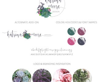 Watercolor Business Logo, watercolor design, photography, watermark, painted, succulent, bouquet, floral, flowers, newborn, design logo