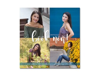 INSTANT DOWNLOAD, Instagram Template, Senior Portrait, Photographers, Square, Searching for Senior Models, Model Call, Book Now, Marketing