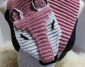 Foxy Whimsical Crocheted Scarf in Dusty Rose and Grey