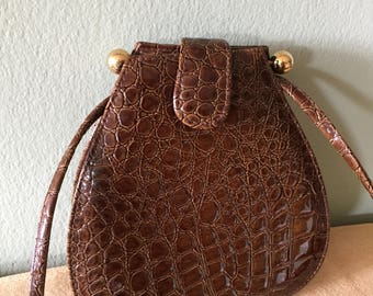 Brown Patent Leather (Faux) Evening Bag, Cross Body Bag