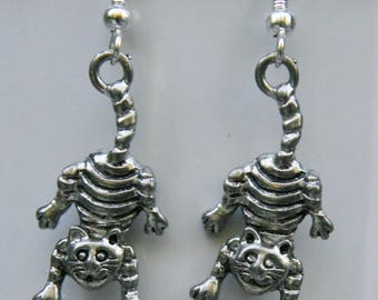 Hanging by my tail cat earrings