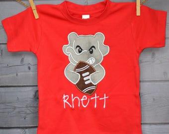 Personalized Football Team Mascot Elephant Bulldog Tiger Hound Dog Gator Applique Shirt or Onesie