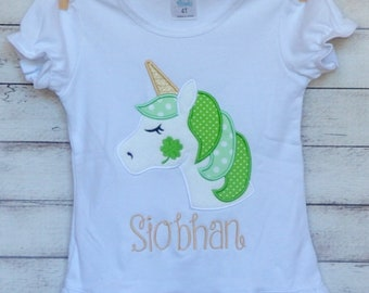 Personalized St. Patrick's Day Unicorn with Shamrock Applique Shirt or Onesie Girl or Boy
