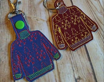 Ugly Christmas Sweater Key Fob - Eyelet and Tab Versions are Included- In The Hoop - Snap/Rivet Key Fob - DIGITAL Embroidery Design