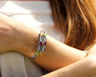 Vintage Multi-Color Gemstone Bangle with Diamonds in 18kt White/Black Gold 7.61ctw