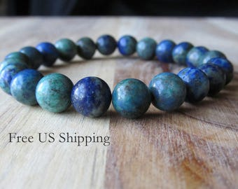 8mm Chrysocolla Bracelet, Gemstone Bracelet, Womens or Mens Bracelet, Mens Jewelry, Gift for Men, Mala Yoga Jewelry, Stacking Bracelet,