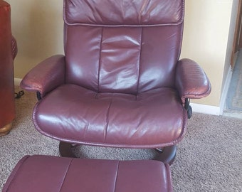Ekornes Stressless Recliner w Ottoman Paloma LEATHER LARGE ROSEWOOD Chair base, Scandinavian Leather Chair Norway Made Burgandy