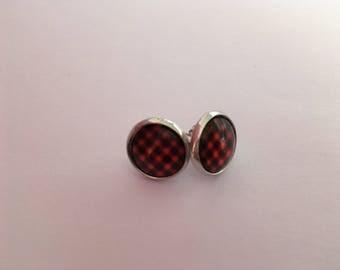 Earrings, earrings, earstuds, mod style, charity, 12mm glass