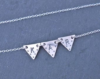Silver Bunting Necklace, Sterling Silver Initial Necklace, Custom Silver Bunting Necklace, Triangle Necklace, Letter Necklace