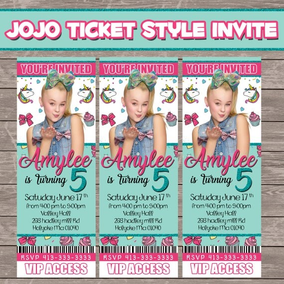 jojo siwa ticket style invite