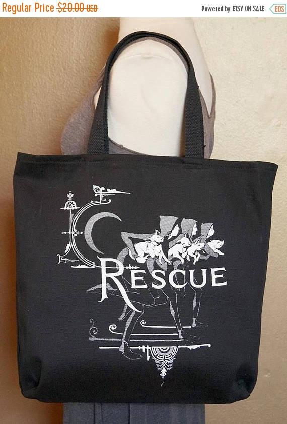 "ON SALE Tote Bag ""Recue"" White Ink on Black Cotton"