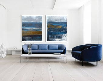 """Pair of abstract paintings - each 44"""" X 36""""  """" modern painting  fine art, acrylic on canvas"""