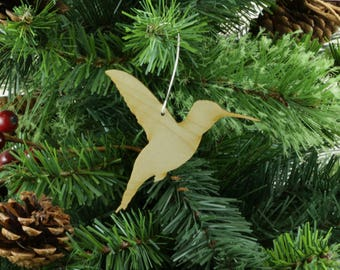 Hummingbird Ornament in Wood or Mirror Acrylic Customizable with Name - Design 5