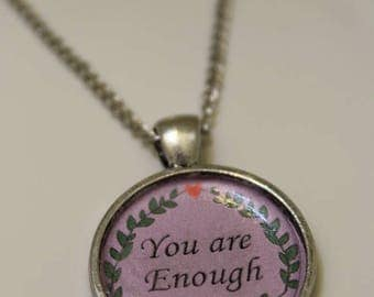 You are enough circle pendant necklace
