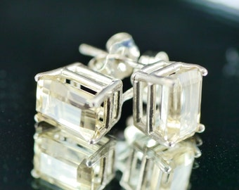 Emerald Cut Oregon Sunstone Earrings
