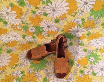 "70s Vintage Famolare ""Go There"" Woven Leather Platform Sandals 7 7N"