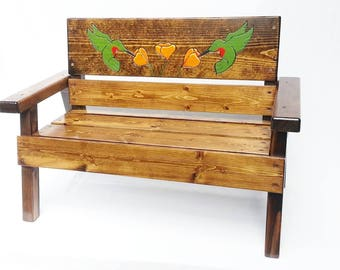 Engraved and Painted Kids Wood Bench, Childrens Outdoor Furniture, Toddler+ Boy / Girl Gift, Country, Garden, Hummingbird Art, Recycled Wood
