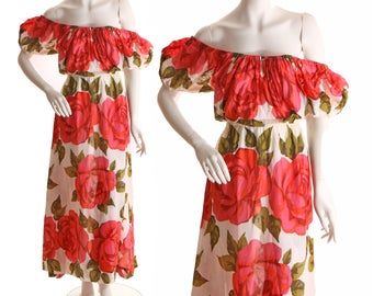 LAYAWAY Late 1930s Early 1940s Oversized Large Red Rose Floral Print Off the Shoulder Señorita Dress-M-L