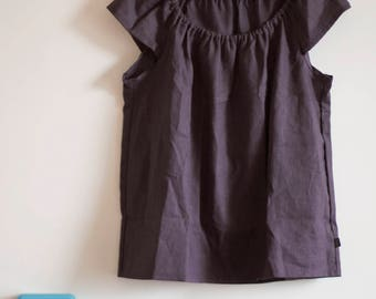 Ready to ship, Linen top in Plum, Size 10, Blouse without sleeves, Linen shirt, Eco friendly linen