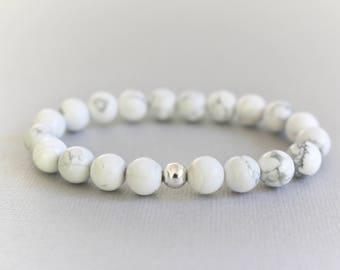 Howlite gemstone bracelet, gemstone bracelet, white stone bracelet, stacking bracelet, howlite crystal gemstone, healing crystal bracelet