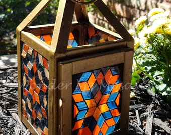 Stained Glass Mosaic Lantern - A Box of Peaches