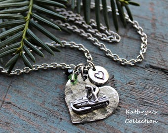 Snowmobile Necklace, Snowmobile Jewelry, Snowmobiling Gift, Snowmobiler Gift, Love to Snowmobile