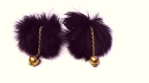 Recycled  Fur Pom-poms Dangle Earrings