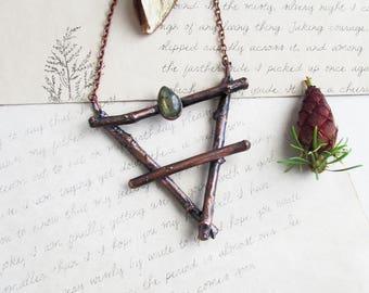 Tierra símbolo alquimia tierra bruja joyas ocultas labradorita collar signo de elemento tierra alquimia cobre colgante pagana Wicca joyería