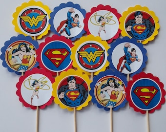 Superman and Wonder Woman  Cupcake Toppers  superman and wonder woman birthday party