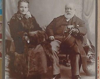 Antique Cabinet Card Photograph. Elderly Couple. Walter Martin, Ilford Studios