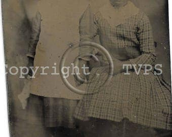Vintage Tintype Photograph African American Sisters