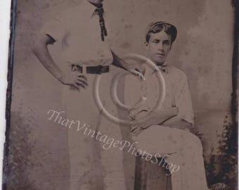 Antique Tintype Photo Affectionate Men
