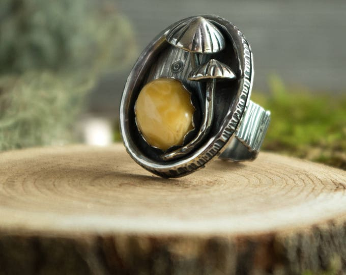 Mycena Mushroom Ring with Amber, Sterling Silver, Size 7