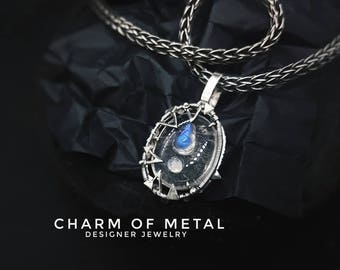 Silver jewelry jewel wire wrap gift for woman girlfriend present harry potter magic spells style rock-crystal Moonstone pendant necklace