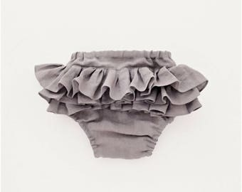 Ash Grey Linen Bloomers, Ruffle Bum Diaper Cover, Baby Girl Nappy Cover, 1st Birthday Photoshoot