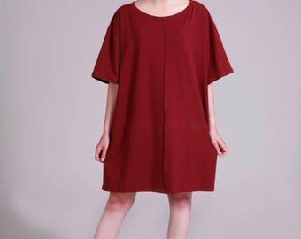 Oversized T Shirt, Bordeaux T Dress, Pluse Size Tunic, Short Summer Dress, Short Sleeve Dress, Red Wine, Minimalist, Casual