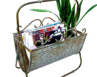 Vtg Faux Bamboo Forged Iron Tole Magazine Rack || Chinoiserie Chic Home Décor