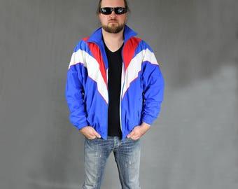 90s Vintage Blue Tracksuit, Athletic Track Jacket, Men's Bomber Jumper, 1990s Zip Up Bomber Windbreaker, Unisex Spors Blazer, Size Large L