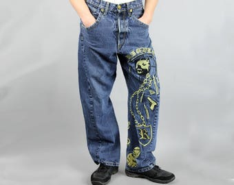 Hip Hop Embroidered RIDDLE Men's Jeans, 90s Ripped Dog Patterned Denim Pants, Vintage Straight Leg High Waist Deep Blue Rave Trousers, W 32