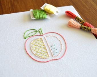 Apple Slice hand embroidery pattern, modern embroidery, fruit design, embroidery patterns, embroidery PDF, PDF pattern