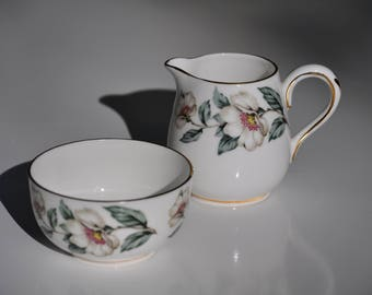"Vintage Creamer & Sugar Bowl Set, Crown Staffordshire Porcelain, England, Rare ""Christmas Rose"" Pattern, Open Sugar and Milk Jug, MINT"