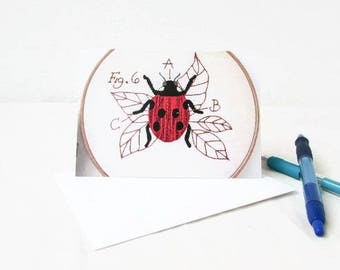 Blank stationary cards, hand embroidery art note cards, blank thank you cards, insect card notecards with envelope, handmade in the UK