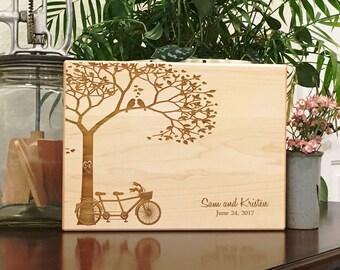 Personalized Cutting Board, Tandem Bike, Bridal Shower, Engagement Gift, Wedding, Anniversary, Love Birds, Custom Cheese Board, New Home