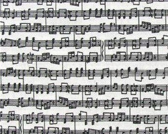 Black Music Notes on White Fabric -  100% Cotton Quilting Apparel Crafts Home decor