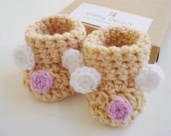 Baby bear booties Crochet baby booties Beige baby shoes Beige booties Bear shoes Baby shower gift Baby girl booties New baby girl gift