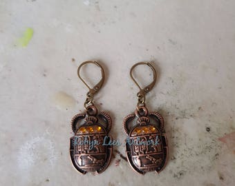 Copper Patterned Egyptian Style Scarab Beetle Earrings with Orange Topaz Glass Crystal Stones on Bronze Leverbacks